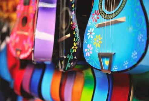 Brightly-Painted-Guitars---fun